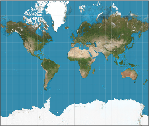 Mercator projection map.