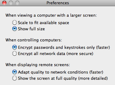 ScreenSharing settings to access iDevice