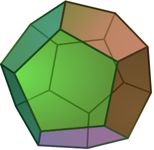 Dodecahedron or 12-cube, geometric body with 12 symmetrically disposed faces.