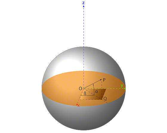 Figure 4: A sphere with an arbitrary point P on the surface.