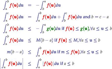 \begin{eqnarray*} \int_{{\color{gray}a}}^{{\color{gray}b}}{\color{red}{\color{red}f({\bf{u}})}}d{\bf{u}} &=& -\int_{{\color{gray}b}}^{{\color{gray}a}}{\color{red}{\color{red}f({\bf{u}})}}d{\bf{u}} & \\ \int_{{\color{gray}a}}^{{\color{gray}c}}{\color{red}{\color{red}f({\bf{u}})}}d{\bf{u}} &=& \int_{{\color{gray}a}}^{{\color{gray}b}}{\color{red}{\color{red}f({\bf{u}})}}d{\bf{u}} + \int_{{\color{gray}b}}^{{\color{gray}c}}{\color{red}{\color{red}f({\bf{u}})}}d{\bf{u}} \text{ and } {\color{gray}b} = {\color{gray}c}-{\color{gray}a} & \\ \int_{{\color{gray}a}}^{{\color{gray}b}}{\color{red}{\color{red}f({\bf{u}})}}d{\bf{u}} &\le& -\int_{{\color{gray}b}}^{{\color{gray}a}}{\color{green}g({\bf{u}})}d{\bf{u}} \text{ if } {\color{red}{\color{red}f({\bf{u}})}} \le {\color{green}g({\bf{u}})} \text{,} \forall {\color{gray}a} \le {\bf{u}} \le {\color{gray}b} & \\ \int_{{\color{gray}a}}^{{\color{gray}b}}{\color{red}{\color{red}f({\bf{u}})}}d{\bf{u}} &\le& M({\color{gray}b}-{\color{gray}a}) \text{ if } {\color{red}{\color{red}f({\bf{u}})}} \le M \text{,} \forall {\color{gray}a} \le {\bf{u}} \le {\color{gray}b} & \\ m({\color{gray}b}-{\color{gray}a}) &\le& \int_{{\color{gray}a}}^{{\color{gray}b}}{\color{red}{\color{red}f({\bf{u}})}}d{\bf{u}} \text{ if } m \le {\color{red}{\color{red}f({\bf{u}})}} \text{,} \forall {\color{gray}a} \le {\bf{u}} \le {\color{gray}b} & \\ \biggr\vert \int_{{\color{gray}a}}^{{\color{gray}b}}{\color{red}f({\bf{u}})}d{\bf{u}} \biggr\vert&\le& \int_{{\color{gray}a}}^{{\color{gray}b}}\vert {\color{red}{\color{red}f({\bf{u}})}} \vert d{\bf{u}} \text{ if } {\color{gray}a} \le {\color{gray}b} \end{eqnarray*}